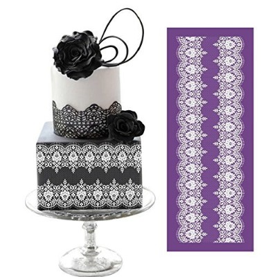 ART Kitchenware 49cm 19cm Large Symmetric Lace Floral Vines Mesh Stencil Rose Flower Cake Stencil...