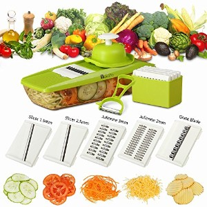 Mandoline Slicer + Peeler & eBook - Potato Slicer - Vegetable Grater - Cutter for Cucumber, Onion,...