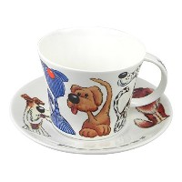 Roy Kirkham Dogz Large Breakfast Tea Cup and Saucer Set Fine Bone China England