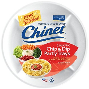 Chinet White Plastic Chip and Dip Party Trays - 2 ct by Chinet