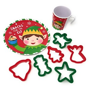 クリスマスCookies for SantaまたはCookie For ElfプレートとMug Set with 6 Cookie Cutters レッド