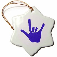 3dローズCherylsArt Love Signs – Love Sign Languageブルー – Ornaments 3 inch Snowflake Porcelain Ornament...
