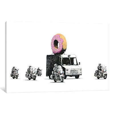 """iCanvasART 2004–1pc3–12x 8iCanvas Donut Police印刷by Banksy 12"""" x 1.5"""" x 18"""" 2004"""