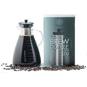 Zen Brews 2.0 Extra Large Cold Brew Coffeeシステム| 2リットル( 68oz ) Carafe with Ultramesh Super Fineステンレスス...