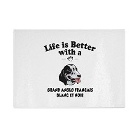 Grand Anglo Francais Blanc Noir Dog Life Betterキッチンガラスカッティングボード 8 in x 11 in CUTBCDOGPT13203_811