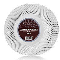 Elite Selection 25パックホワイトDinner Plates with Silver Swirl 10.25インチ