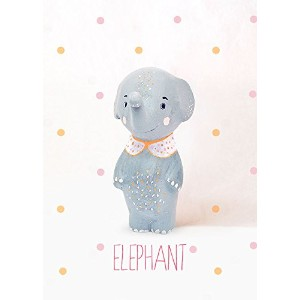 """Oopsy Daisy Fine Art for Kids Paper Mache Elephant Girlキャンバス壁アートby Paola Zakimi 10 x 14"""" ピンク NB22660"""