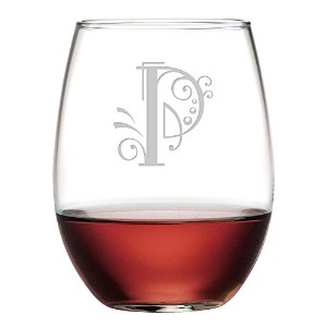 SusquehannaガラスモノグラムStemless Glasses with砂Etched Whimsicalフォント文字、4のセット 15 oz
