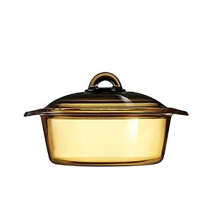 LuminarcフランスAmberline Blooming耐熱ガラスCasserole Cooking Pot 2L ブラウン