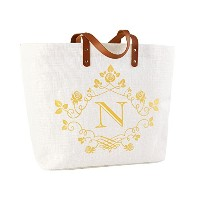 ElegantPark Initial Letterモノグラム100% Jute Tote Bag withハンドルと内部ポケット one size ホワイト