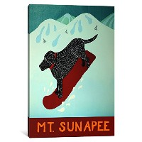 iCanvasART 1 Piece Mt。Sunapeeスノーボードブラックキャンバスプリントby Stephen Huneck 12 x 8 x 0.75-Inch STH84-1PC3-12x8