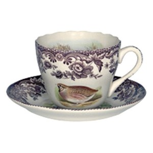 Spode Woodland Quail, Pheasant, Snipe and Rabbit Tea Cup and Saucer [並行輸入品]