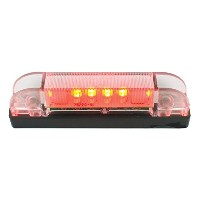Grand General 76223 Red 2' Low Profile Spyder 7-LED Marker/Clearance Sealed Light with Clear Lens ...
