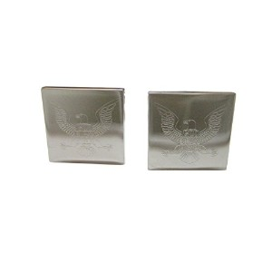 Silver Toned Etched God Bless America鳥Cufflinks