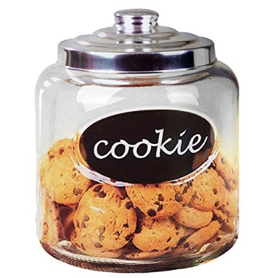 Deluxe Glass Cookie Jar with Metal Lid