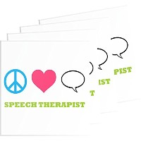 Rikki Knight Peace Love Speech Therapistデザイン – Squareビールコースター Set-of-4-Glass RK-4GlassCoaster-41486