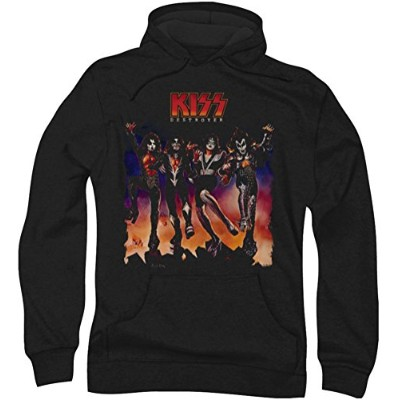 Trevco Kiss-Destroyer Cover Adult Pull-Over Hoodie, Black - XL