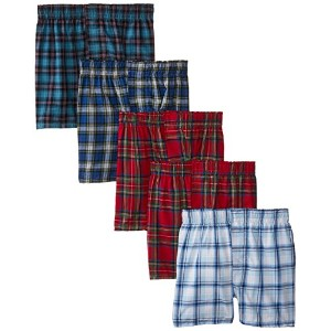 Hanes B841W5 Boys Red Label Tartan Boxer - Assorted Plaid Assorted, Large