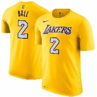 NBA ロンゾ・ボール ネーム&ナンバーTシャツ レイカーズ(ゴールド) Nike Lonzo Ball Los Angeles Lakers Gold Name & Number T-Shirt