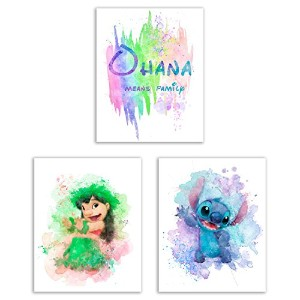 Lilo and Stitch水彩アートPrints – セットof 3 ( 8 x 10)写真 – Ohana Means Family