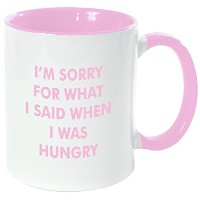 "Rikki Knight "" I ' m Sorry I Was hungry-funny引用符ピンクハンドルと内側デザイン""セラミックコーヒーマグカップ、11オンス、ピンク"