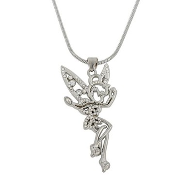 Adorable Tinkerbell Fairy Angelラインストーンネックレスwithクリスタル翼ペンダントfor Teen Girls And Women