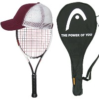 2017 Head Grapheneタッチ速度25 Junior Tennis Racquet – Strung with Cover and Youth Hat – スケールダウンTop...