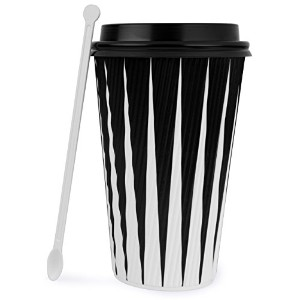 hornbit使い捨てコーヒーカップwith Lids and Stirrers ( 50パック)–12オンスホットPaper Cups withアクセサリー