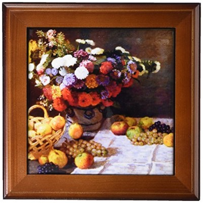 FT _ 179232FabPeople–肖像画–花とフルーツ、Claude Monet Painting Dated 1869、PD - US–フレーム付きタイル 8 by 8...