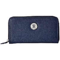 トミー ヒルフィガー 長財布 TOMMY HILFIGER Medallion Saffiano Zip Around Walletd Tommy Navy [並行輸入品]