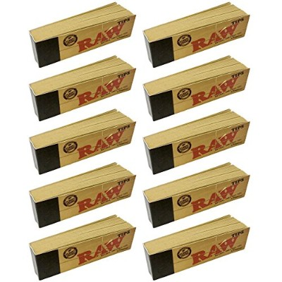 500 Raw Rolling Papers Filter Tips (10 Booklets Of 50) Standard Size Vegan by Raw
