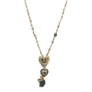 Amaro Jewelry Studio 'Primitive' Collection 24K Rose Gold Plated Chain Decorated with Owl, Heart...
