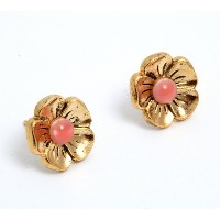 Flow' Collection 24K Yellow Gold Plated Dainty Flower Shaped Stud Earrings Created by Amaro Jewelry...