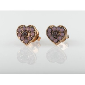 Amaro Jewelry Studio 'Winter Sunset' Collection 24K Rose Gold Plated Heart Stud Earrings Adorned...
