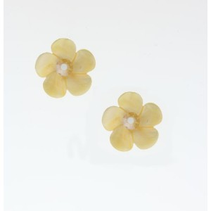 'Pearl Gem' Collection 24K Yellow Gold Plated Fascinating Flower Earrings Created by Amaro Jewelry...