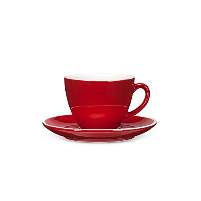 High Quality Avenue Diner Look Porcelain Cappuccino Cup w/ Saucer, Red