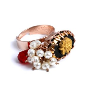 Amaro Jewelry Studio 'Royal' Collection Oval with Charms 24K Rose Gold Plated Adjustable Ring...