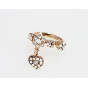 Pearl Gem' Collection 24K Rose Gold Plated Adjustable Ring by Amaro Jewelry Studio with Flower and...