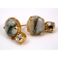 Illumination' Collection 24K Yellow Gold Plated Lofty Stud Earrings by Amaro Jewelry Studio...