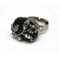 Amaro Jewelry Studio 'Primitive' Collection Oval Black Onyx Top .925 Sterling SIlver Plated...