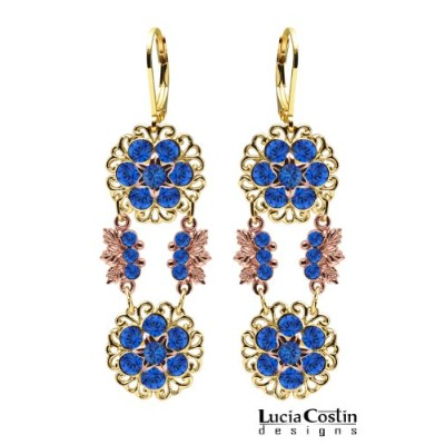Lucia Costin Dangle Flower Earrings with 6 Petal Middle Flowers and Blue Swarovski Crystals, Set...