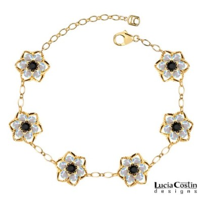 14K Yellow Gold Plated over .925 Sterling Silver Star Shaped Flower Bracelet by Lucia Costin with...