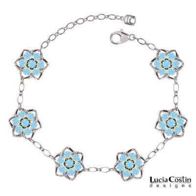 .925 Sterling Silver with 14K Yellow Gold over .925 Sterling Silver Flower Bracelet Designed by...