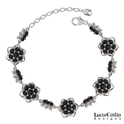 Star Shaped Flower Bracelet by Lucia Costin with Black Swarovski Crystals and Leaf Elements,...