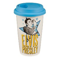 High Quality 47551 Elvis Presley 12 oz Double Wall Ceramic Travel Mug with Silicone Lid, White,...