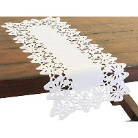 High Quality Primavera Embroidered Cutwork Mini Spring Table Runner, 12 by 28-Inch, White