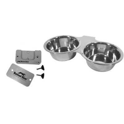 Kennel-Gear Double Bowl with Stainless Steel Yoke, 1 -Quart by Kennel-Gear