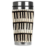 High Quality Piano Keys Travel Mug with Insulated Wetsuit Cover, 16 oz, Black