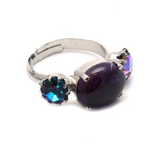 Amaro Jewelry Studio 'Rainy Skies' Collection Adjustable Rhodium Plated Cocktail Ring Enhanced with...