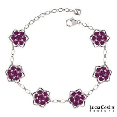 Sterling Silver Flower Bracelet by Lucia Costin with Twisted Lines and Violet Swarovski Crystal...